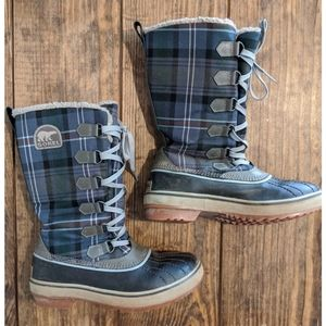 Sorel Tivoli Tall Blue Plaid Boots Waterproof Sz 7